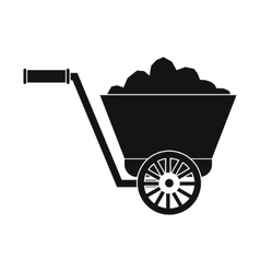Trolley with ore black simple icon vector