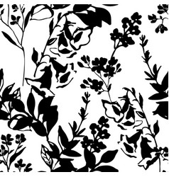twigs leaves flowers silhouettes background small vector image