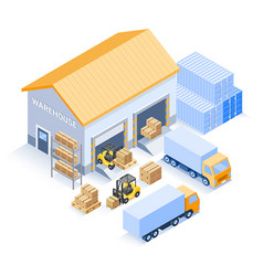 warehouse industrial isometric vector image