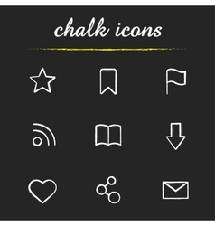 Web browser chalk icons set vector