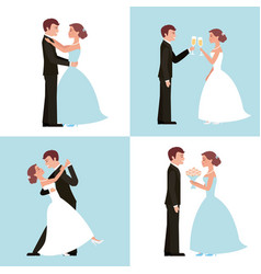 wedding card bride and groom set vector image