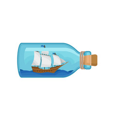 wooden ship and blue water inside of glass bottle vector image