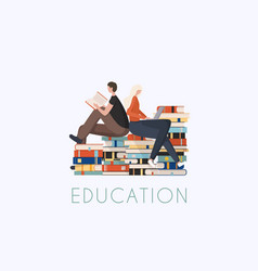 Young stylish people readers sitting on stack vector