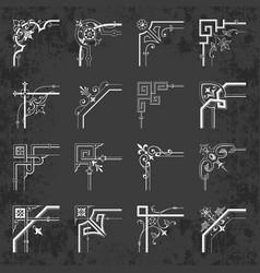 calligraphic corners on chalkboard - vintage style vector image vector image