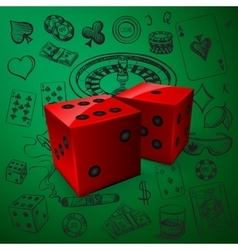 Hand drawn Casino icons set with dice game vector image