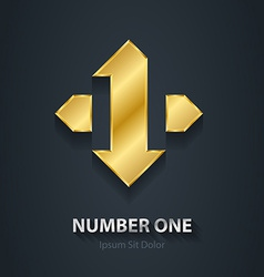 Number 1 first place winner gold design element vector