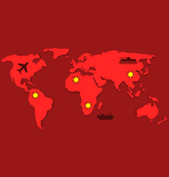 red world map vector image