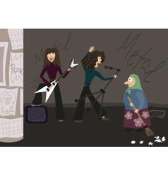 Rock group playing music in the street the old vector image vector image