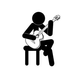 stick figure man playing classic guitar vector image