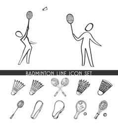 Badminton line icon set vector image