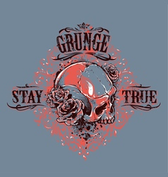 Grunge Skull Print 5 vector image vector image