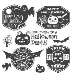 Halloween vintage badges emblems or labels vector image