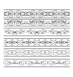 set of black wavy elements for design vector image vector image