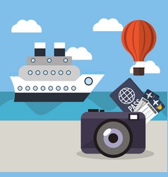 vacations ship airoon tickets passport concept vector image vector image