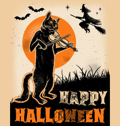 vintage halloween cat playing violin poster vector image