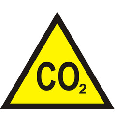 co2 yellow triangular warning sign carbon vector image vector image