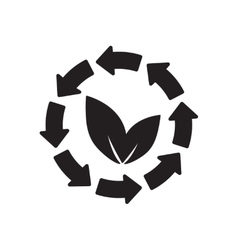 Flat icon in black and white arrow leaves vector