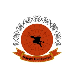 Halloween logo sign with silhouette of witch head vector image
