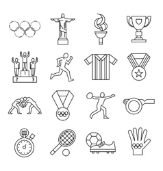 Olympic games line icon set vector