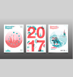 annual report 2017 template layout design cover vector image vector image
