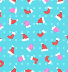Christmas hat and mitten pattern vector image vector image
