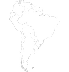 Contour South America map vector image