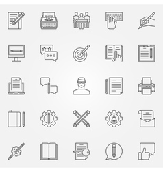 Copywriting icons set vector image vector image
