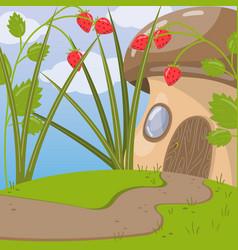cute fairytale mushroom house vector image