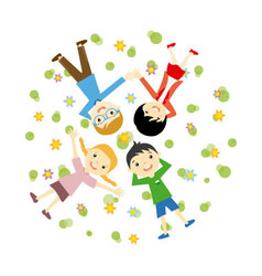 Happy family resting outdoors vector image vector image