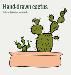 homemade cactus in a pot hand-drawn vector image vector image