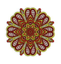 mandala doodle drawing colorful floral round vector image