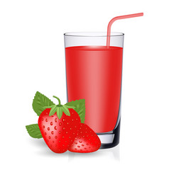 set of strawberry juice and fresh ripe berries vector image