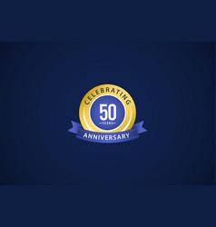50 years anniversary celebrating blue logo vector