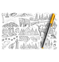 accessories and tools hunter doodle set vector image
