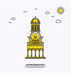 Antim monastery monument poster template world vector