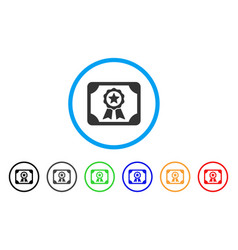 authorize diploma rounded icon vector image vector image