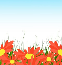 Background with sunflowers green grass vector