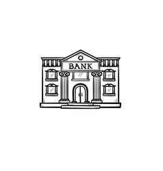 bank hand drawn outline doodle icon vector image