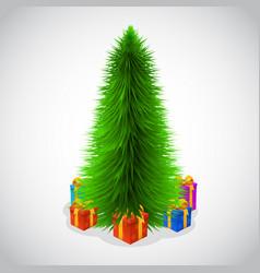beautiful christmas tree and presents vector image
