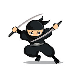 Black ninja using two swords with cycle sword vector