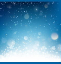 blue christmas falling snow template eps 10 vector image