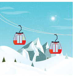 cable cars or aerial lift moving above the ground vector image