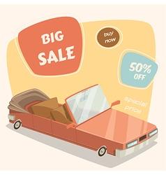 Car sale retro car in cartoon style vector