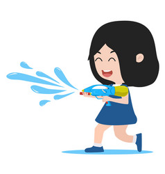 Cartoon girl hold watergun vector