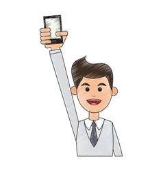 cartoon man profile vector image