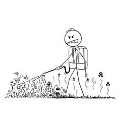 Cartoon man spraying herbicide or vector