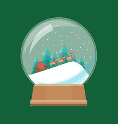 cartoon snow globe and sleigh with deer vector image