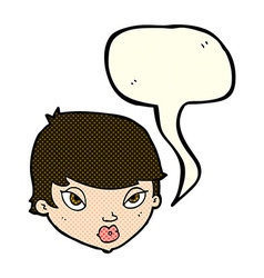 Cartoon unimpressed woman with speech bubble vector