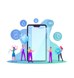 Characters put on smartphone screen protector film vector