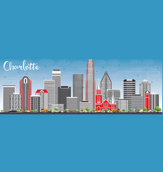 Charlotte skyline with gray buildings and blue sky vector